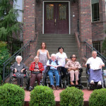 Front entrance of West Linn care home. Ileana Ivan and some residents are lined up in front of the steps